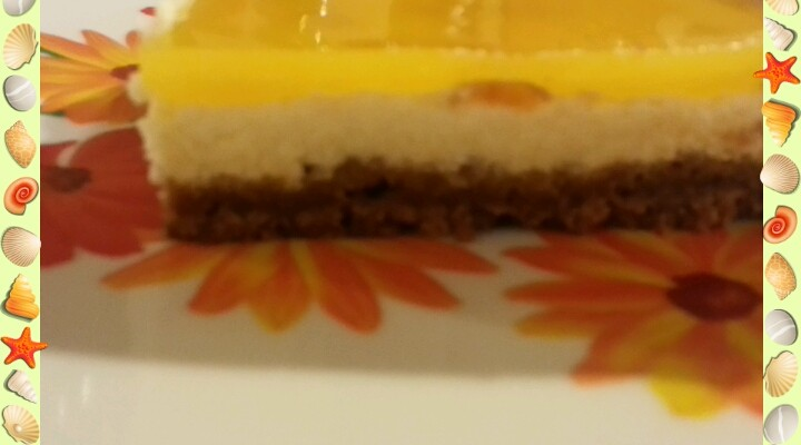 Cheese cake vanille mangue.